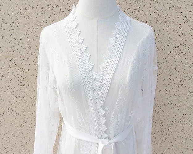 new products popular stores choose clearance Amazon.com: White Lace Robe Women Kimono Robe-Bridal Robe ...