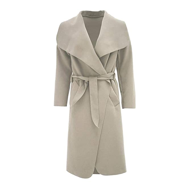 9b62a311ba6 Malaika ® Womens Ladies Waterfall Long Full Sleeves Cape Cardigan Belted Jacket  Trench Coat - Available in PLUS SIZES UK 8-20  Amazon.co.uk  Clothing