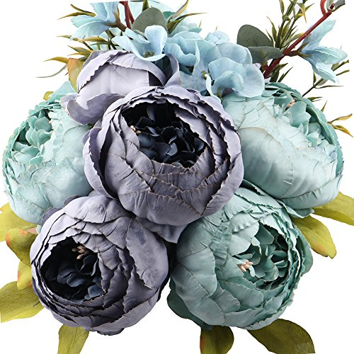 Leagel Fake Flowers Vintage Artificial Peony Silk Flowers Bouquet Wedding Home Decoration, Pack of 1 (Spring Blue) - Leaf Silk Flower