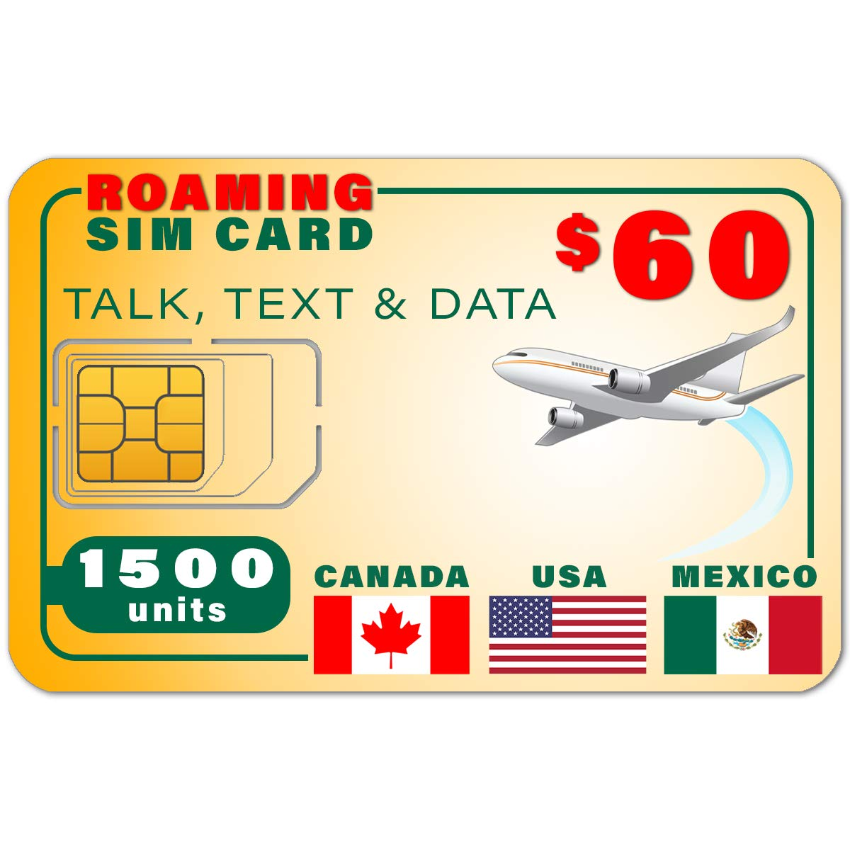 USA Canada Mexico GSM SIM Card - Rollover 1500 Minutes Talk Text Data 1-Year Wireless Service by SpeedTalk Mobile