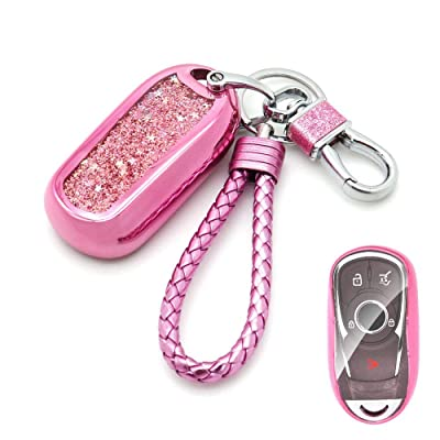 Senauto Quicksand Full Cover Key Fob Cover Case Key Chain for 2020 2020 2020 Buick Encore Envision Lacrosse Regal (Pink): Automotive