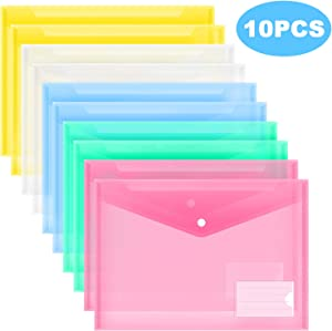 MILOLO Plastic Envelopes Poly Envelopes, 10 Pack US Letter A4 Size Transparent File Folders with Label Pocket& Snap Closure, Clear Filing Envelopes for School/Home/Work/Office, Assorted Colors