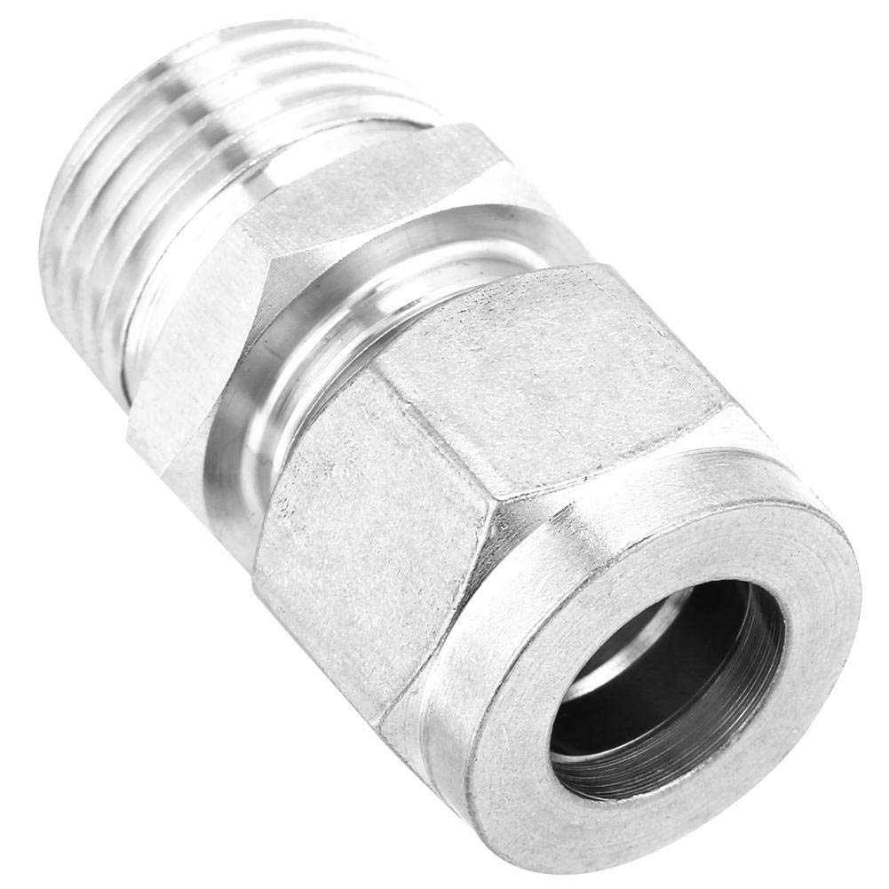 Water Compression Tube Fitting Connector Gas and Other Non-Corrosive or Corrosive Medium Tube OD x NPT Male Equal Straight Adapter Made of Stainless Steel for Oil G1//2-/Φ12
