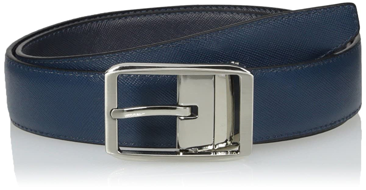 BUGATCHI Mens Saffiano Leather Belt