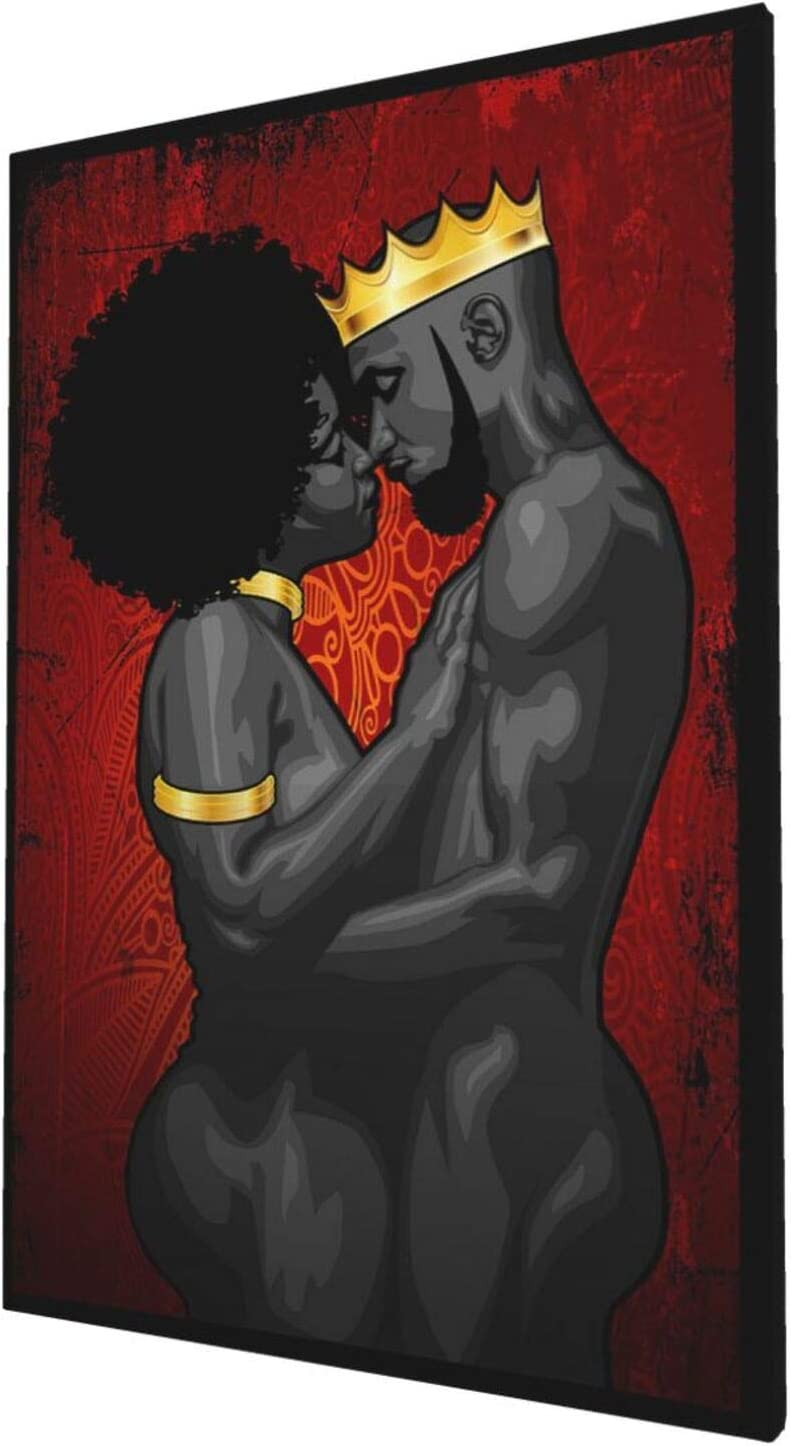 African American Canvas Wall Art Black King And Queen Giclee Prints Framed Pictures Contemporary Home Decor For Living Room Bedroom Bathroom Stretched Ready To Hang, 16x24 Inch