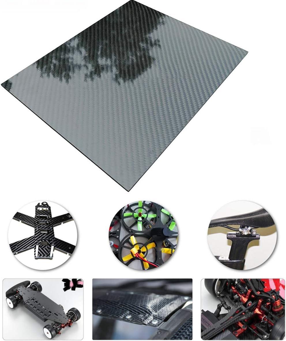 etc.-200x300mm-0.5mm Surface Brillante for pour pi/èces usin/ées Drone SODIALXC3K Feuille De Panneau De Plaque De Fibre De Carbone,Plaque Carbone carr/ée en Twill