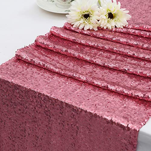 (Eternal Beauty 14'' X 108'' Iridescence Pink Sequin Table Runner Wedding Banquet Table)