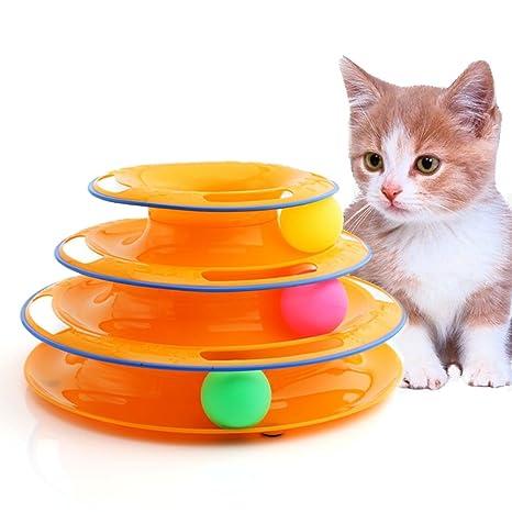 Juguetes interactivos para gatos, torre de 3 niveles de juguetes para mascotas con bolas de colores, ...