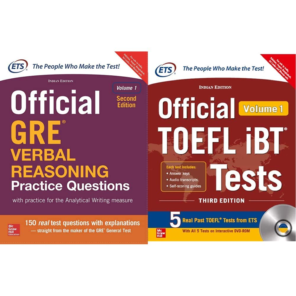 Official GRE Verbal Reasoning Practice Questions + Official TOEFL iBT Tests Volume I W/DVD(Old Edition) (Set of 2 Books)