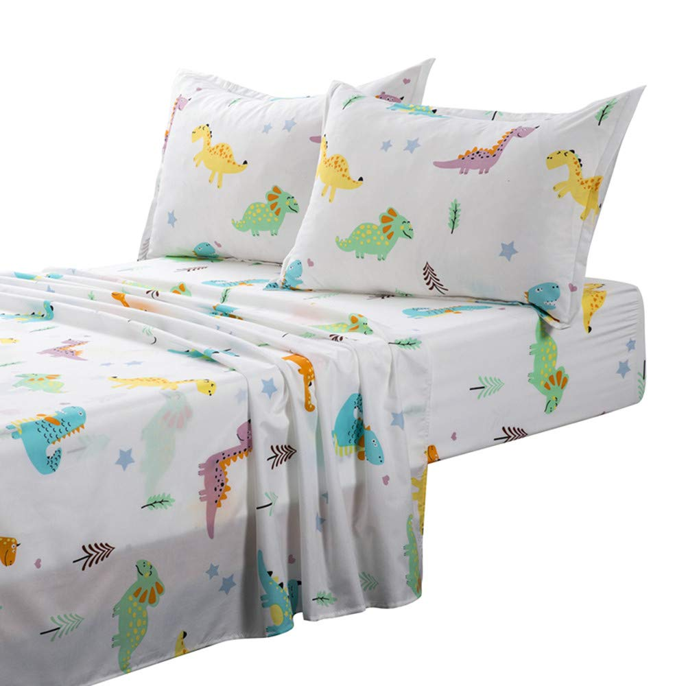 TOTORO Dinosaur Sheet Sets for Kids, 4 Piece White Bedding with 1 Fitted Sheet 1 Flat Sheet 2 Pillowcases, Premium Microfiber Soft Full Size Children's Bed Sheets for Boys and Girls