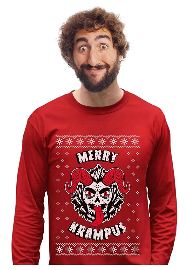 Merry Krampus German Ugly Christmas Goat Scary Demon Long Sleeve T-Shirt GaMPZ3hgC