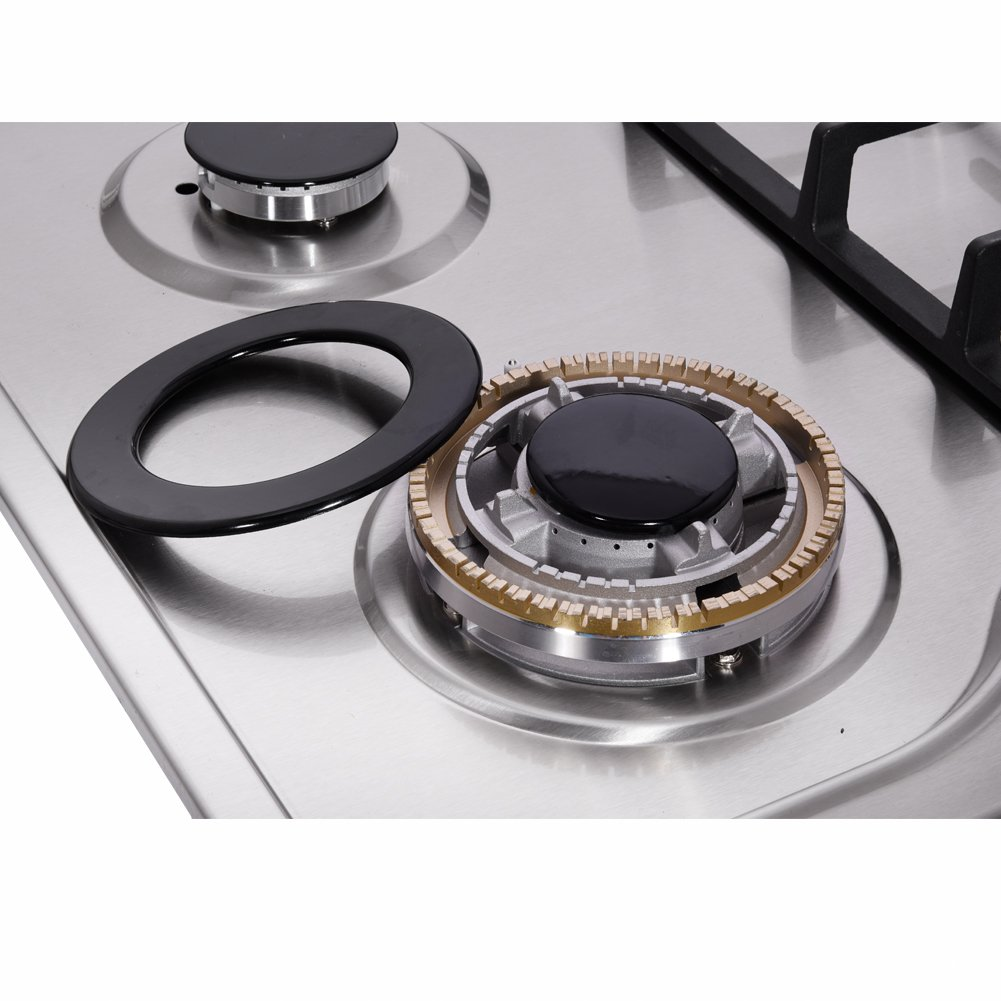 Amazon.com: DeliKit DK258-B01 34 inch Gas Cooktops gas hob stovetop 5 burners LPG/NG Dual Fuel 5 Sealed Burners brass burner Stainless Steelr Built-In gas ...
