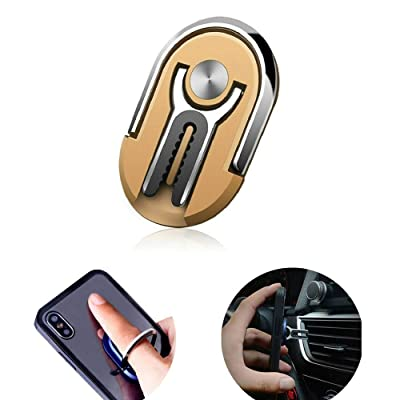 FW ZONE Phone Ring Holder Multipurpose Smartphone Bracket Car Air Vent Holder Universal 360 Degree Rotation Ring Grip Compatible with iPhone Sumsung (Gold)