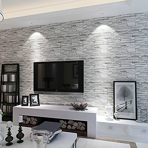 Marvelous ... Looks Real Up Wallpaper 20.86 Inches By 393.7 Inches Long Murals PVC  Vinyl Dimensional 3D Gray Wall Paper TV Living Room Bedroom Decor Light Gray Part 8