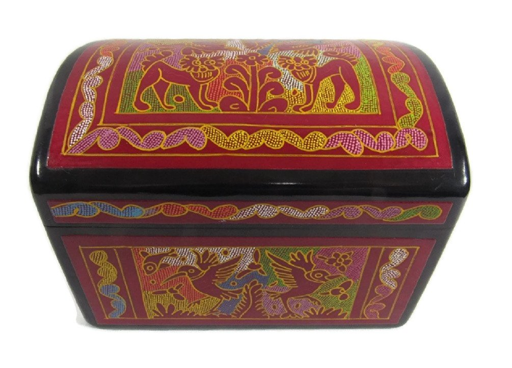 Olinala Hand Carved Incised Medium Square Lacquerware Wood Jewelry Trinket Stash Storage Chest Hand Crafted in Mexico (Black - Red Forest)