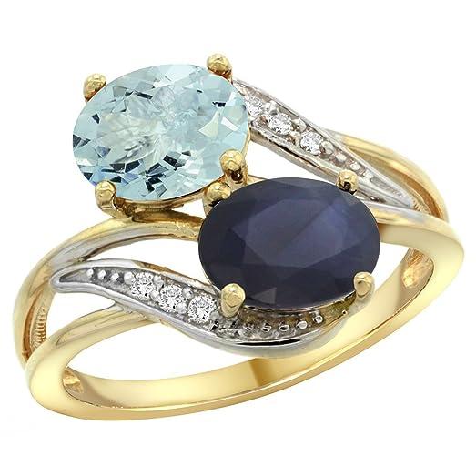 Amazon 14K Yellow Gold Diamond Natural Aquamarine