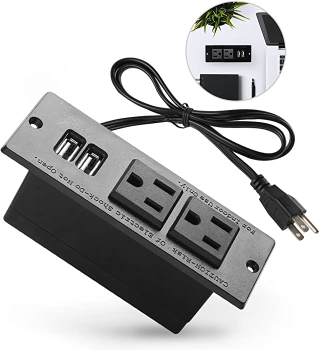 Conference Recessed Power Strip Socket with USB Ports,Table Power Strip,Desktop Charging Station with 2-Outlets and 2 USB Ports