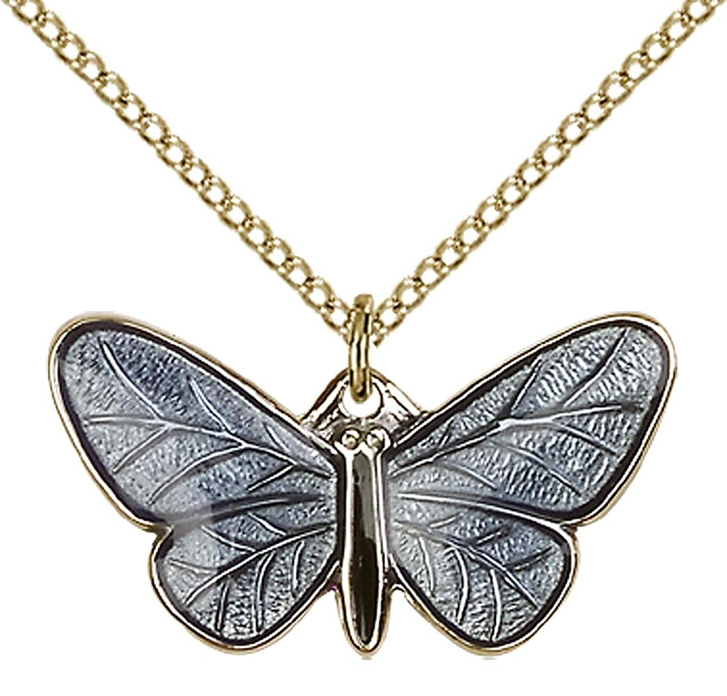 14kt Gold Filled Butterfly Pendant with 18 Gold Filled Lite Curb Chain.