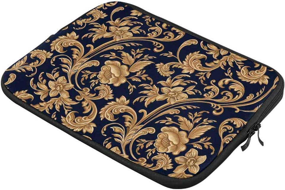 Gold Floral Blossom Laptop Sleeve Case 15 15.6 Inch Briefcase Cover Protective Notebook Laptop Bag