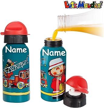 Schule Kinder Trinkflasche mit Wunsch-Namen aus Aluminium in wei/ß f/ür Schulanfang Kindergarten f/ür Jungs