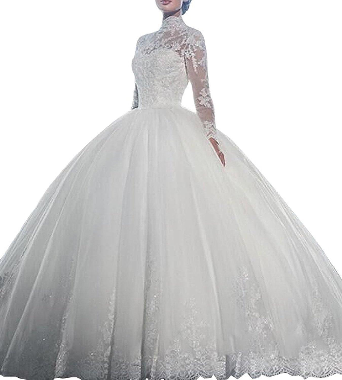 Fanciest Women\'s Vintage High Neck Long Sleeve Wedding Dresses For ...