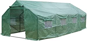 Homemade Heavy Duty Greenhouse Plant Gardening Greenhouse Tent (20′x10′x7′ Spiked)