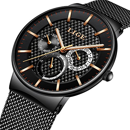 Date Watch Day Quartz (Watches for Men,LIGE Stainless Steel Waterproof Sports Analog Quartz Watch Date Display Black Dial Gents Business Casual Luxury Dress Wrist Watch with Milanese Mesh Band Gold Black)