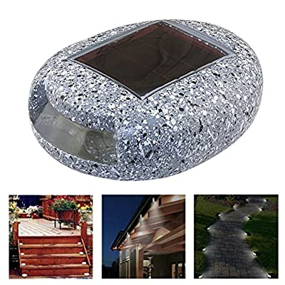 Solar LED Pebbles Decorative Stones Landscape Lighting Wall Lights Waterproof Outdoor Pathway Lights Spotlights for Patio, Lawn, Garden, Yard, Walkway, Driveway