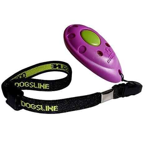 dogsline Clicker profesional con correa elástica, Training Adiestramiento para Perros Gatos caballos