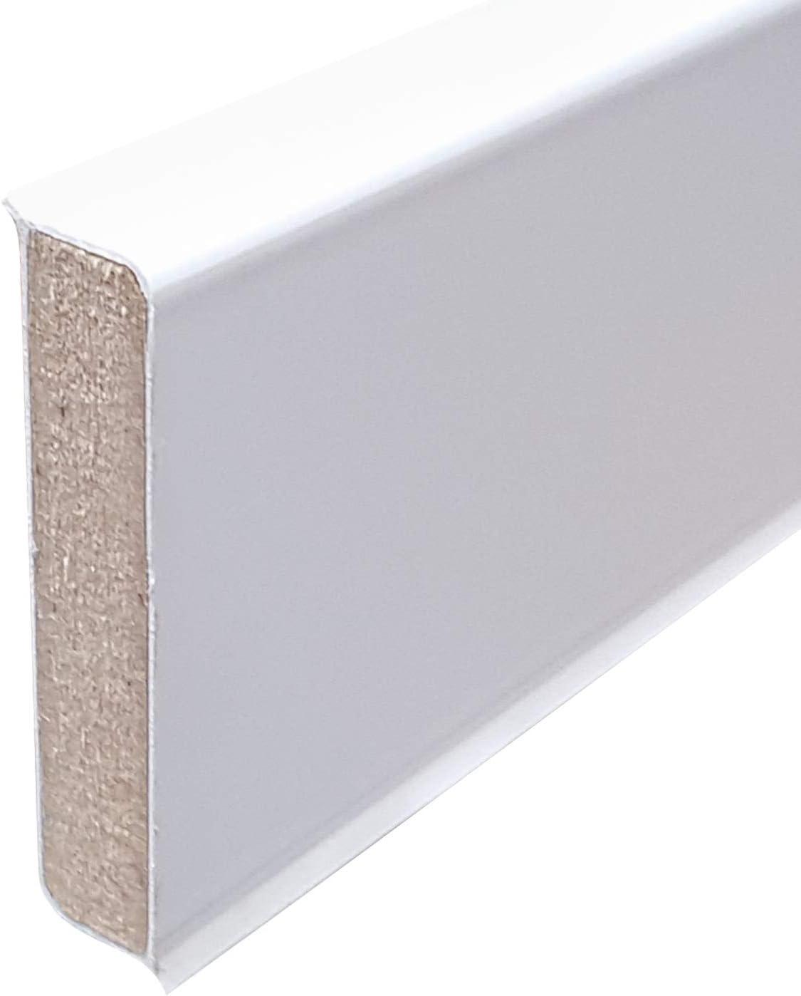 wei/ß f/ür vinyl a 2,5 lfm 3,27 EUR//lfm 81,80 /€//Verpackungseinheit 10x2,5m Cubu flex life Design Sockelleiste 60mm 12,6x40mm 10 St/ück
