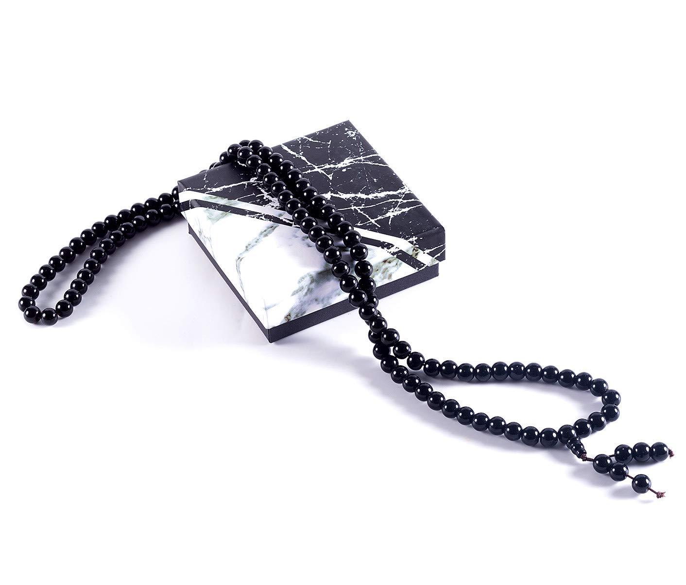Bogo Arty 108 Obsidian Crystal Prayer Bead Multilayer Stretch Bracelets Tibetan Buddhist Meditation Mala Beads Bracelet Necklace (Black-8mm)