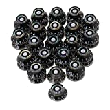 BQLZR 6mm Dia Hole Black Electric Guitar Volume Tone Control Top Hat UFO Hut Bell Knobs with White Numbers Scale Pack of 40