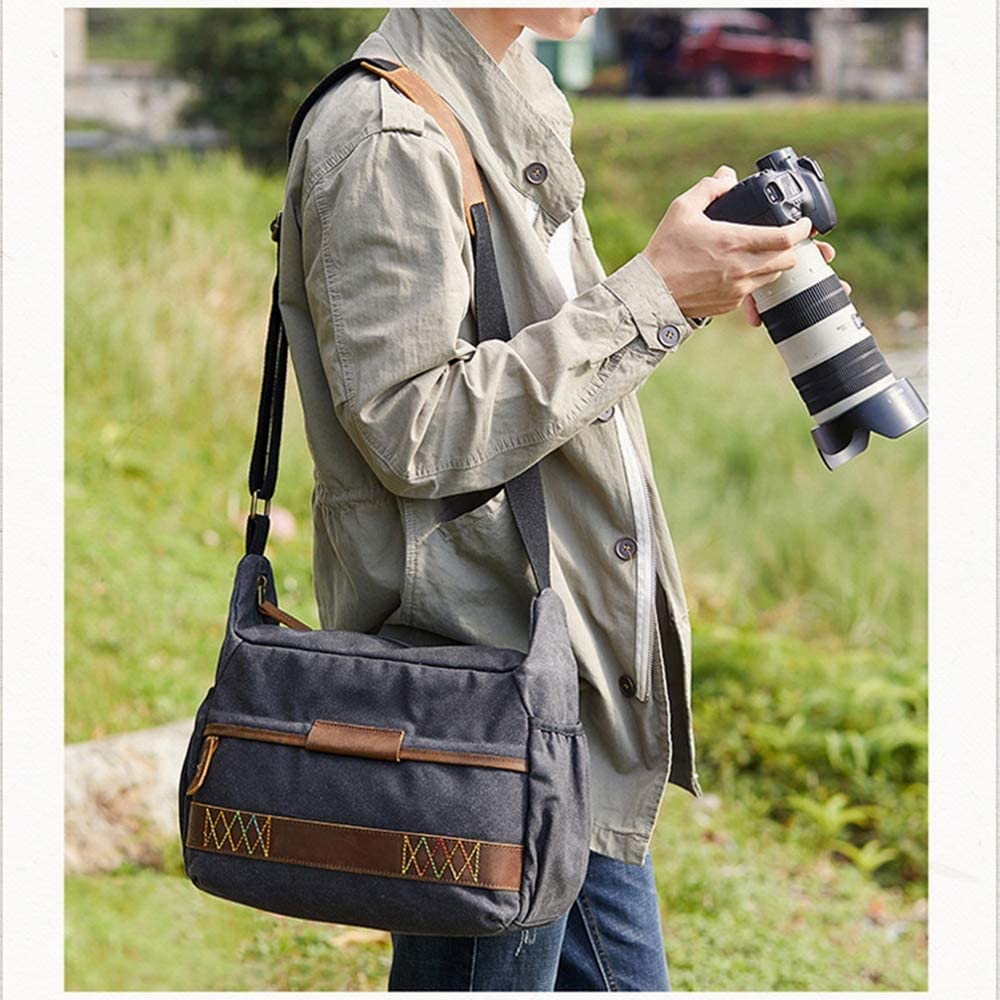 YXCM Camera Bags,Retro Single Shoulder Slung SLR Camera Batik Canvas Casual SLR Waterproof Mens and Womens Bag for Canon Nikon Sony Digital Camera,Darkgray