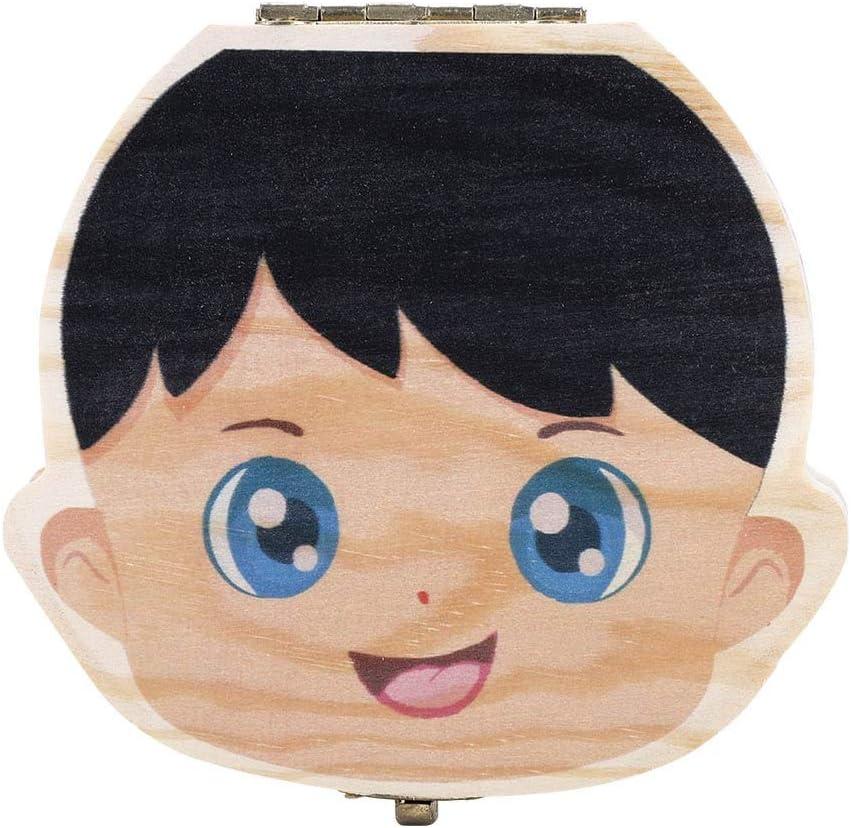 Caja de Dientes para beb/és Caja de Madera para Dientes Infantiles Color Spanish Boy Versi/ón en Color Organizador de Dientes de Leche para beb/és