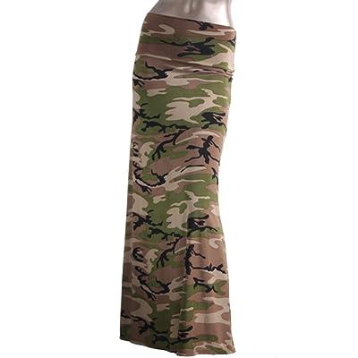 2LUV Women's Stripe Print Rayon Span Floor Length Maxi Skirt