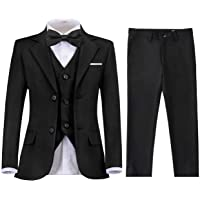 Lycody Boys Suits Formal 5 Piece Notched Lapel Suit Set with Tie and Vest