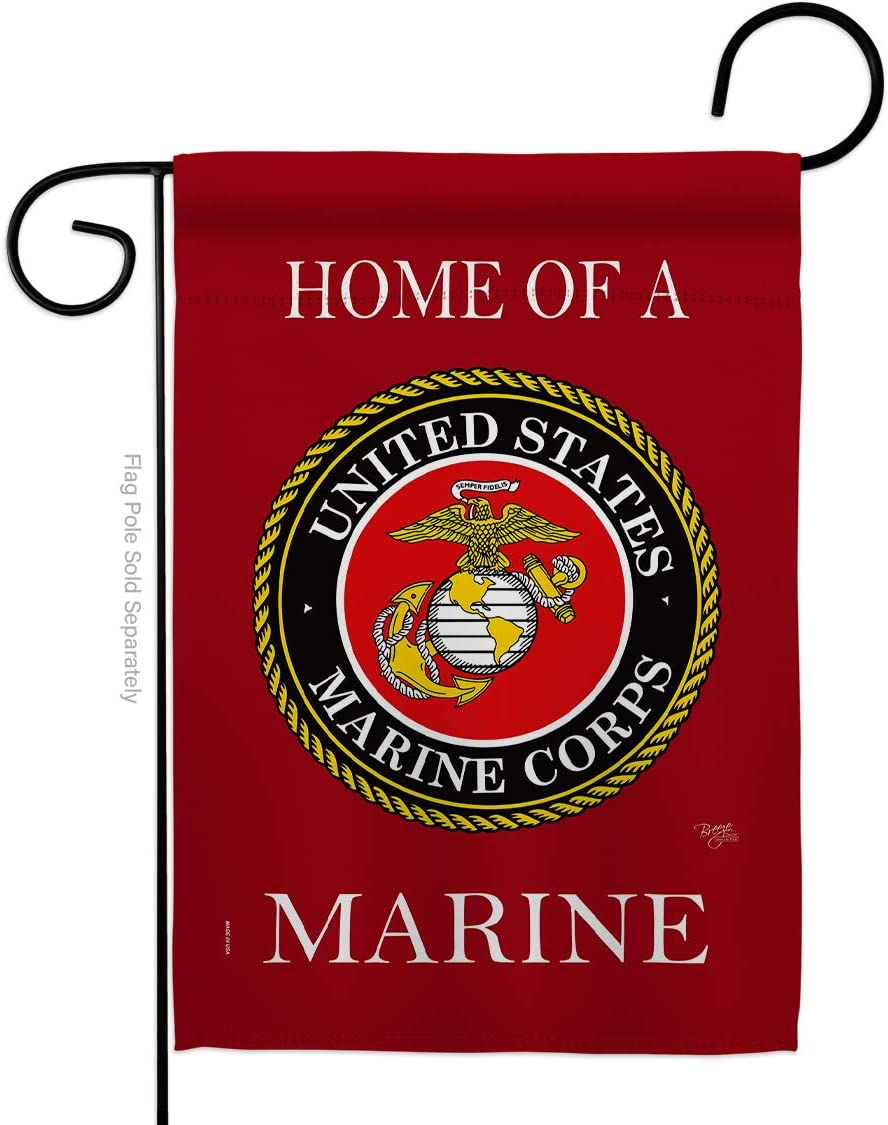 Breeze Decor Home of Marine Corps Garden Flag Armed Forces USMC Semper Fi United State American Military Veteran Retire Official House Decoration Banner Small Yard Gift Double-Sided, Made in USA