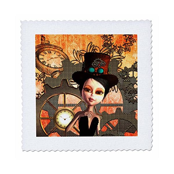 3D Rose Girl with Steampunk Hat Clocks and Gears Square 14 by 14 Inch Quilt, 14 x 14 2