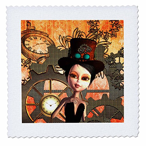 3D Rose Girl with Steampunk Hat Clocks and Gears Square 14 by 14 Inch Quilt 14 x 14