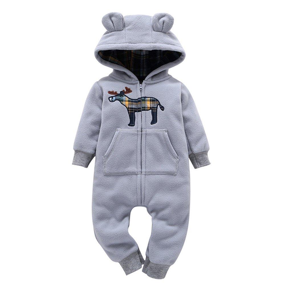 Unisex Baby Overall Fleecemantel f/ür 0-24Monate Junge M/ädchen Jumpsuit Strampler Baumwolle Bodysuit S/äugling Spielanzug Schlafanzug Outfit Wintermantel Zhen