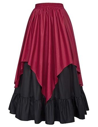 Luckyod Mujeres Cintura Alta Vintage Steampunk Renacimiento ...