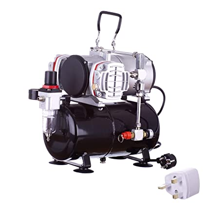 Compresor de aire de pistón doble con aerógrafo sin aceite del tanque receptor de 3.5 litros