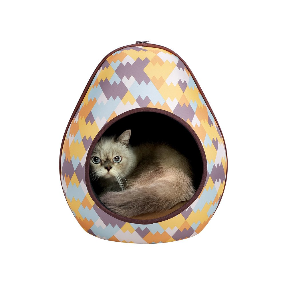 IBIYAYA Cat Cave Pod for Indoor Cats also ideal for Ferret and Puppy Bed (ZigZag)