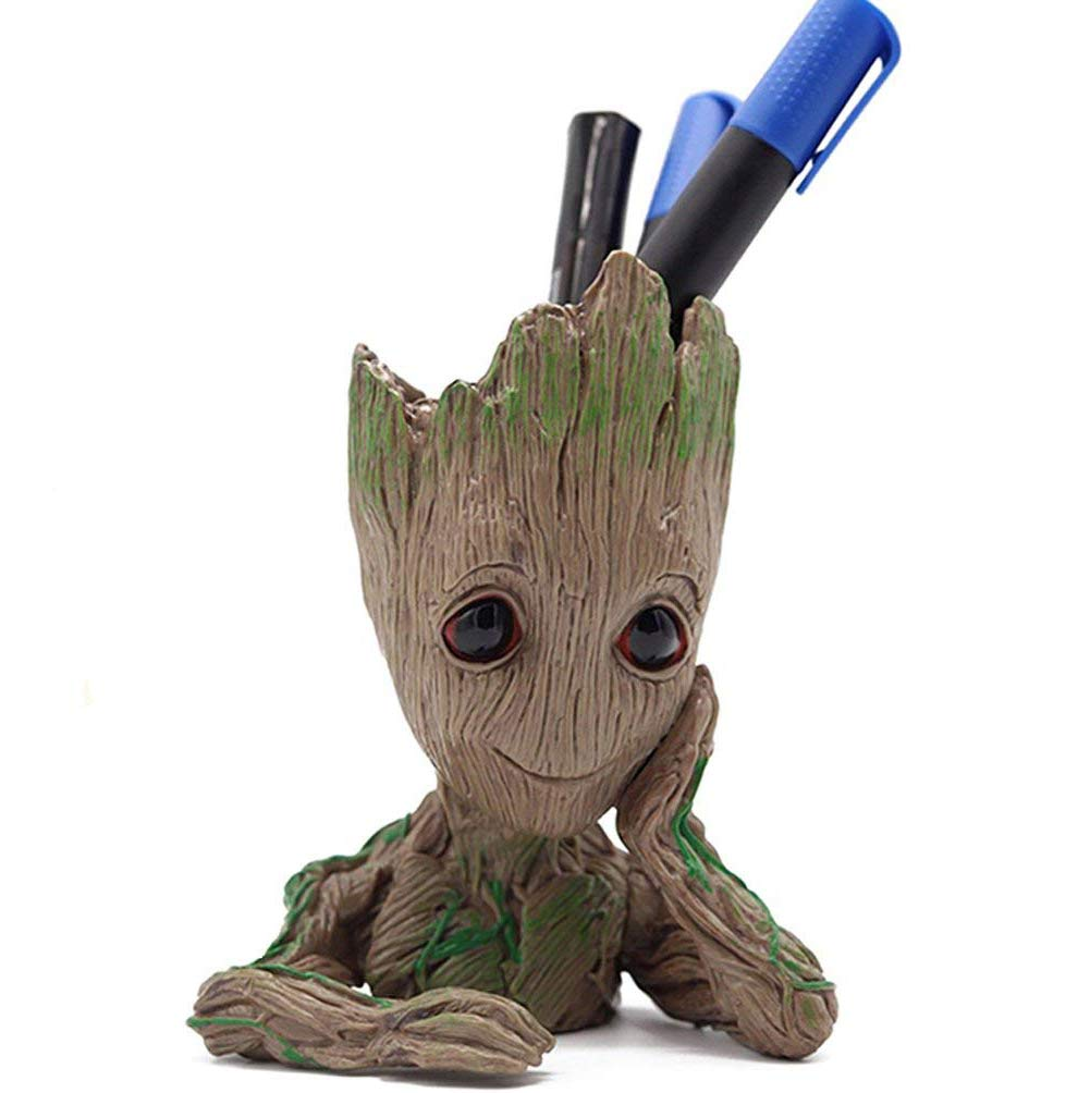 V-Leopard Groot Pen Pot Tree Baby Pens Holder Or  Flower Pot Perfect for Tiny Ceramic Succulents Plants and Desk Figure Model 6\