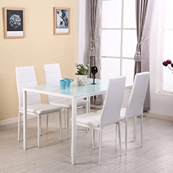 Warmiehomy Dining Table Chairs, Stunning Glass Dining Table Set Kitchen  Table And 4 Faux Leather