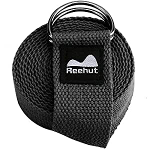 Reehut Fitness Exercise Yoga Strap w/Adjustable D-Ring Buckle for Stretching, Flexibility and Physical Therapy - (Black, 6ft)