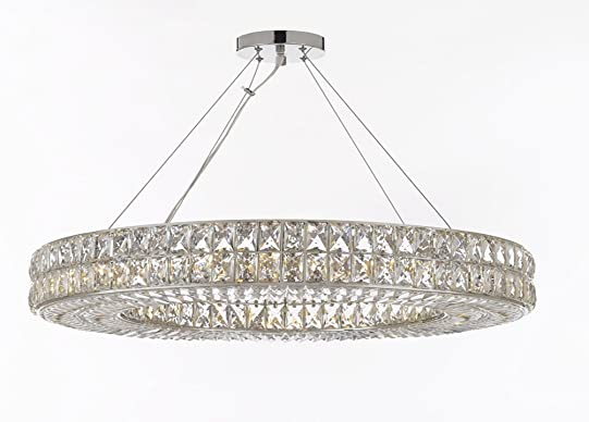 Crystal Nimbus Ring Chandelier Chandeliers Modern Contemporary Lighting Pendant 44 Wide – Good for Dining Room, Foyer, Entryway, Family Room and More