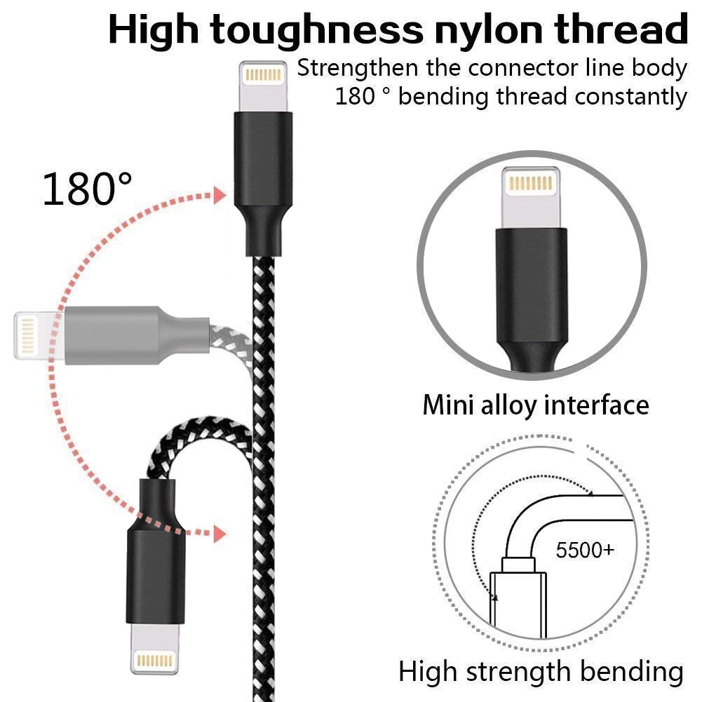 Loopilops Compatible iPhone,Lightning Cables [4-Packs] 3FT 6FT 6FT 10FT Syncing Data and Nylon Braided Cord Charger iPhone X/8/8Plus/7/7Plus/6/6Plus/6s/6sPlus/5/5s/5c/SE and More (Black&White) by Loopilops (Image #2)