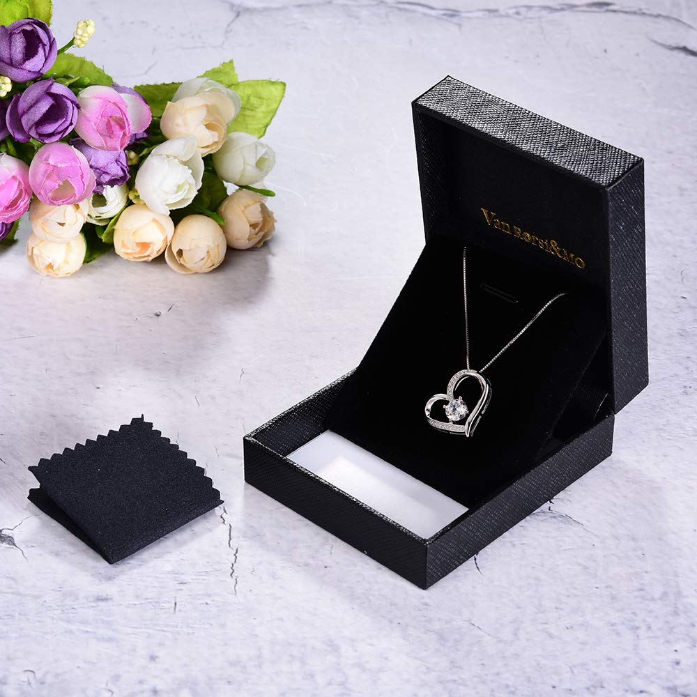 a505b8c9309 Heart Necklace 5A Cubic Zirconia Love Necklace 14k White Gold Plated  Pendant Necklaces for Women VAN ...