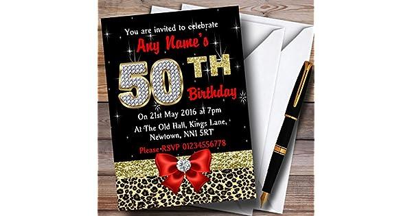 Diamante Rosa Y Estampado De Leopardo Xxi Fiesta De Cumpleaños Personalizadas Invitaciones